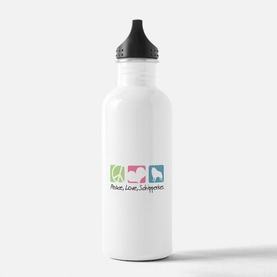 Peace, Love, Schipperkes Water Bottle