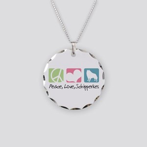Peace, Love, Schipperkes Necklace Circle Charm