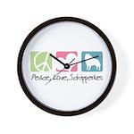 Peace, Love, Schipperkes Wall Clock