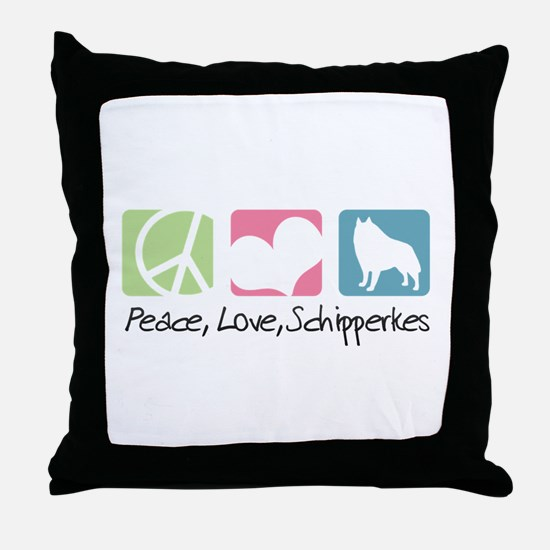 Peace, Love, Schipperkes Throw Pillow