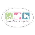 Peace, Love, Schipperkes Sticker (Oval 10 pk)