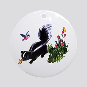 Cute Baby Skunk Ornament (Round)