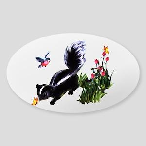 Cute Baby Skunk Sticker (Oval)