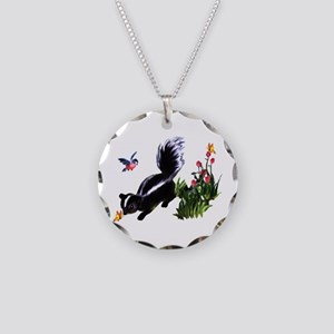 Cute Baby Skunk Necklace Circle Charm