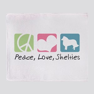 Peace, Love, Shelties Throw Blanket