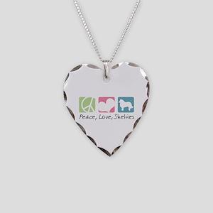 Peace, Love, Shelties Necklace Heart Charm