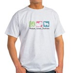 Peace, Love, Shelties Light T-Shirt