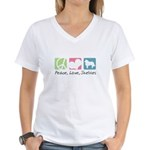 Peace, Love, Shelties Women's V-Neck T-Shirt