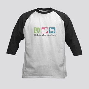 Peace, Love, Shelties Kids Baseball Jersey