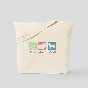 Peace, Love, Shelties Tote Bag