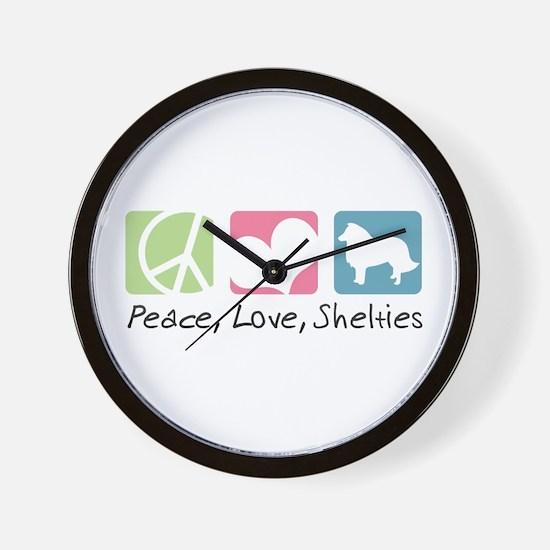 Peace, Love, Shelties Wall Clock