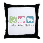 Peace, Love, Shelties Throw Pillow
