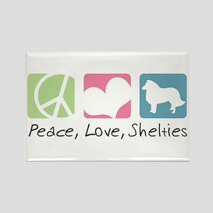 Peace, Love, Shelties Rectangle Magnet