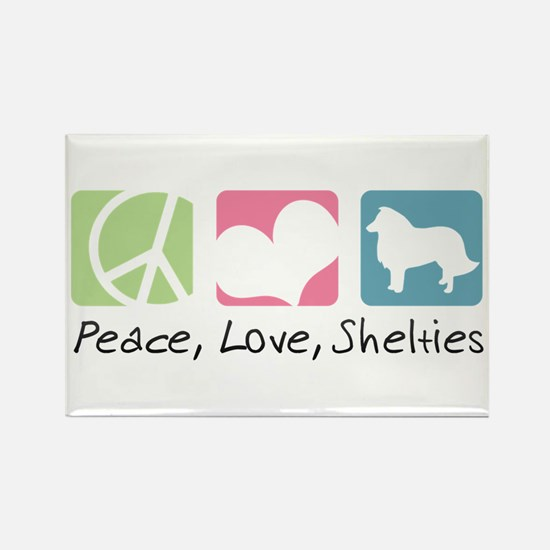 Peace, Love, Shelties Rectangle Magnet