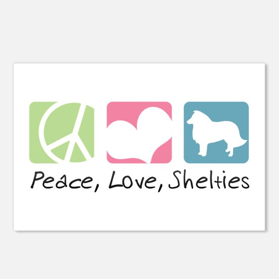 Peace, Love, Shelties Postcards (Package of 8)