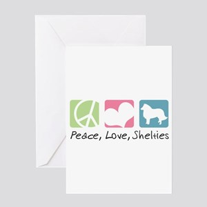 Peace, Love, Shelties Greeting Card