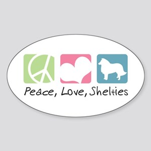 Peace, Love, Shelties Sticker (Oval)