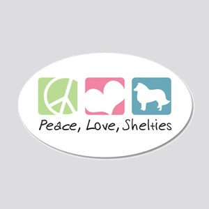 Peace, Love, Shelties 22x14 Oval Wall Peel