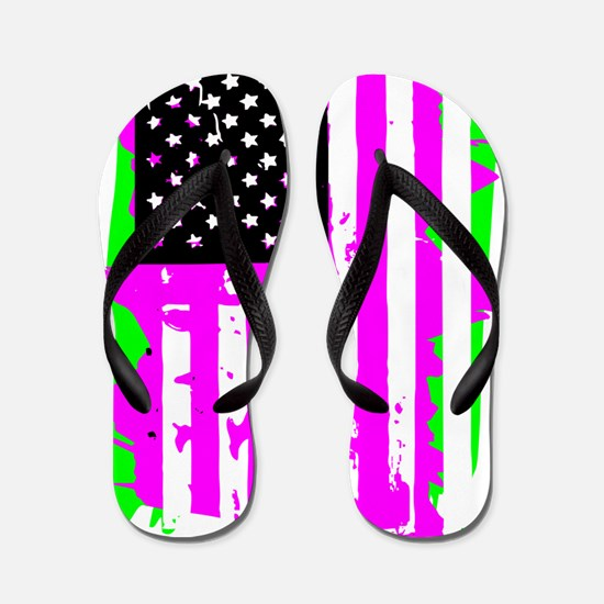 Green american flag Flip Flops