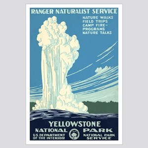 1930s Vintage Yellowstone National Park Large Post