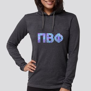 Pi Beta Phi Purple Letters Womens Hooded T-Shirts