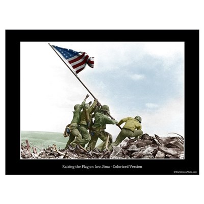 Raising the Flag on Iwo Jima - Colorized (12x9) Canvas Art