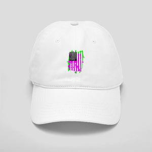 neon pink USA Flag Cap