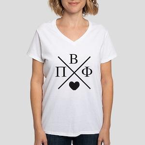 Pi Beta Phi Cross Women's V-Neck T-Shirt