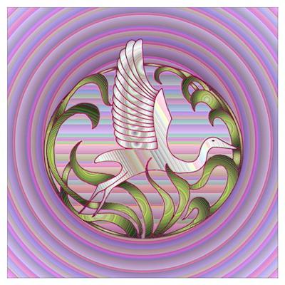 Heron Sunset Poster