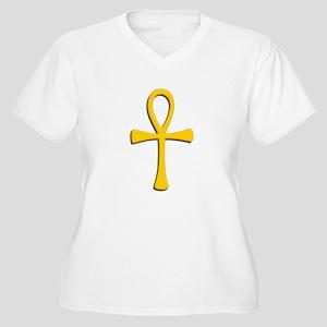 Golden Ankh Women's Plus Size V-Neck T-Shirt