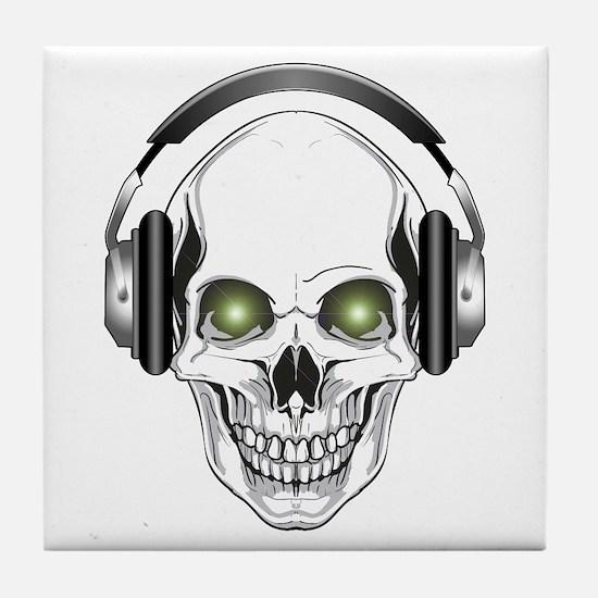 Green Eye DJ Skull Tile Coaster