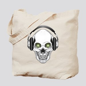 Green Eye DJ Skull Tote Bag