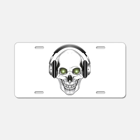 Green Eye DJ Skull Aluminum License Plate