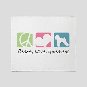Peace, Love, Wheatens Throw Blanket