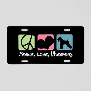 Peace, Love, Wheatens Aluminum License Plate