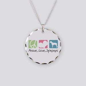 Peace, Love, Spinones Necklace Circle Charm