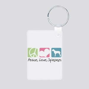 Peace, Love, Spinones Aluminum Photo Keychain