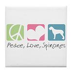 Peace, Love, Spinones Tile Coaster