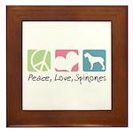 Peace, Love, Spinones Framed Tile