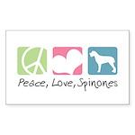 Peace, Love, Spinones Sticker (Rectangle 50 pk)