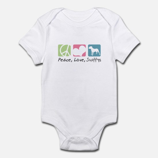Peace, Love, Staffys Infant Bodysuit
