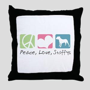 Peace, Love, Staffys Throw Pillow