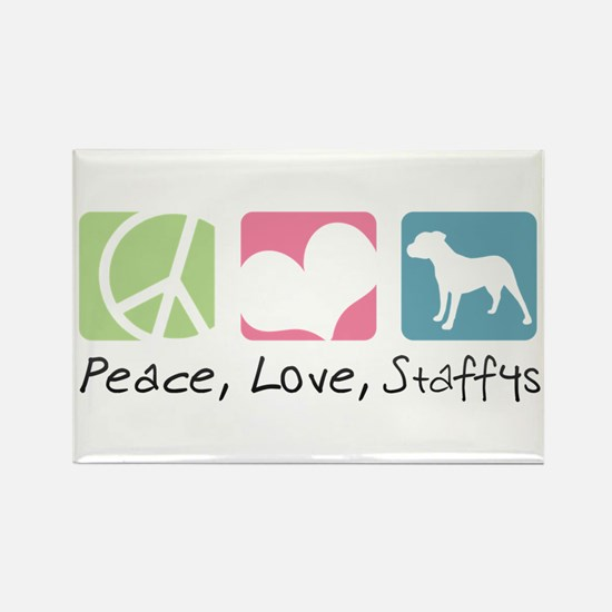 Peace, Love, Staffys Rectangle Magnet