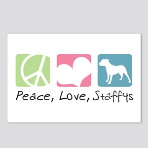 Peace, Love, Staffys Postcards (Package of 8)
