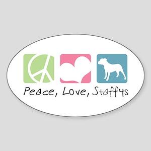 Peace, Love, Staffys Sticker (Oval)