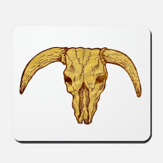 longhorn bull skull Mousepad
