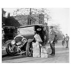 Police Capture Bootleggers Car, 1922 Poster