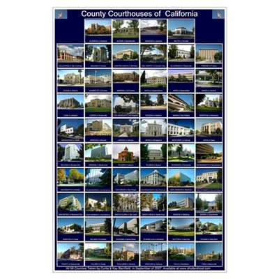 California County Courthouses Large Blue Poster