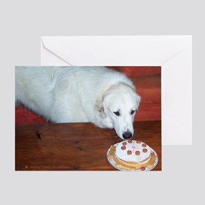 Great Pyrenees Greeting Card, Birthday Cake