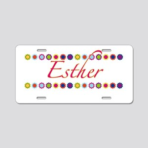 Esther with Flowers Aluminum License Plate